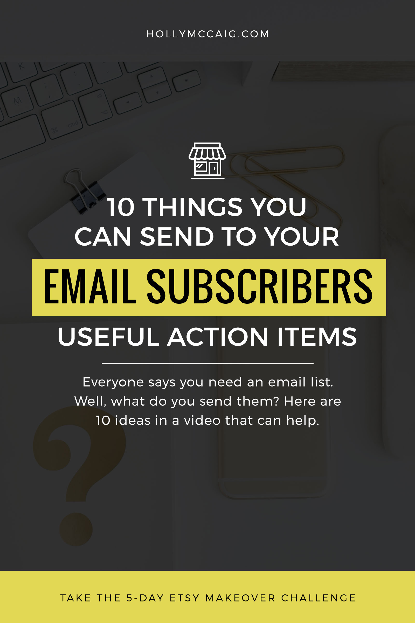 10 Things You Can Send to Your Email Subscribers. For years, as an online business owner, I have collected emails for the sole purpose of just promoting products and deals. I never really thought that maybe there was a better use of an email list until last year. I mean, what should I send to my email subscribers? Watch my video and get a free opt-in ideas checklist.