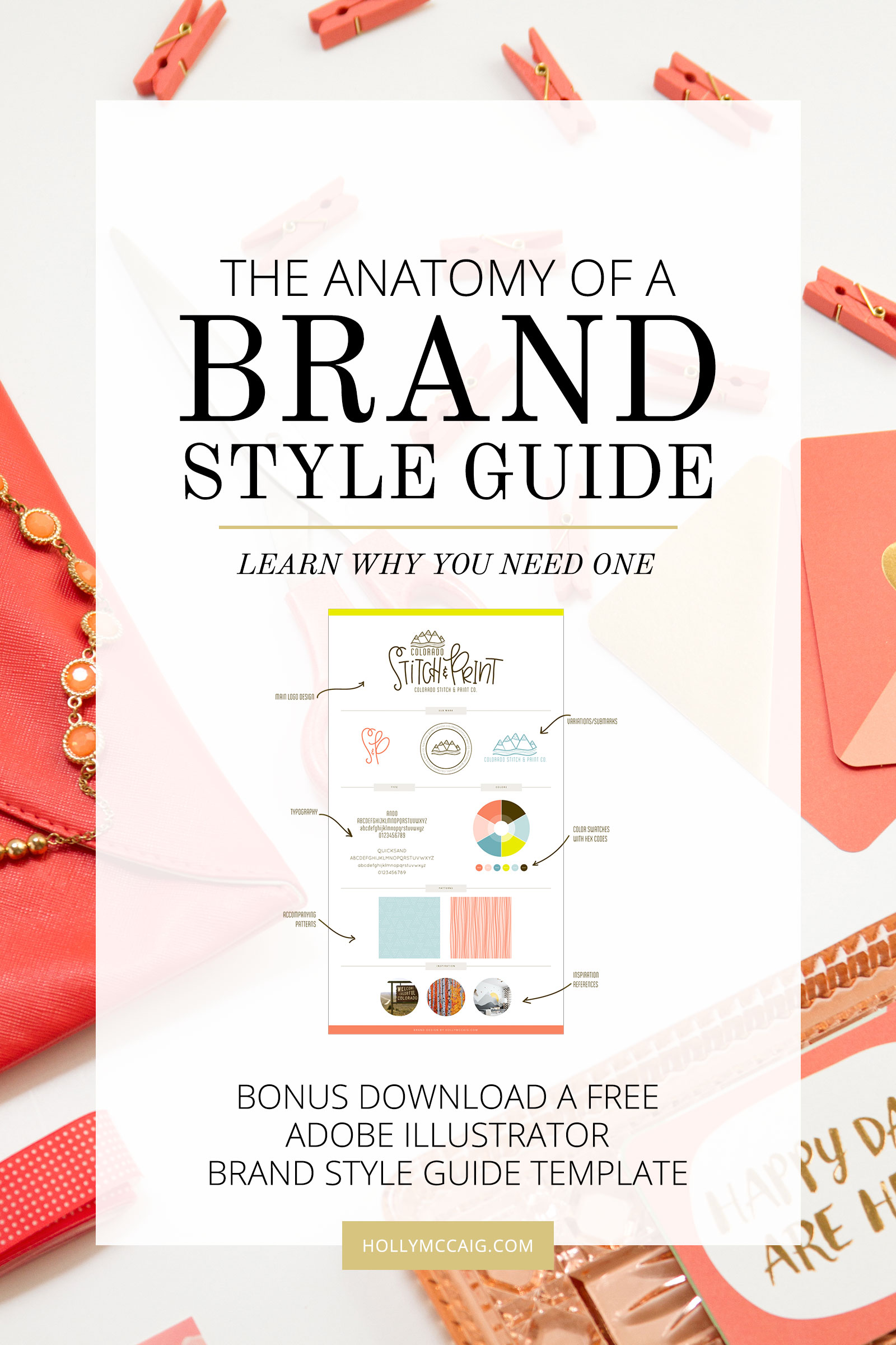 Having a brand style guide is a necessity to ensure that there is consistency when it comes to design as it relates to your blog or brand. I see a lot of brands that have no cohesiveness throughout their business. Having a brand style guide is important so your message is clear to your audience. Watch my tutorial and download my free style guide template at hollymccaig.com