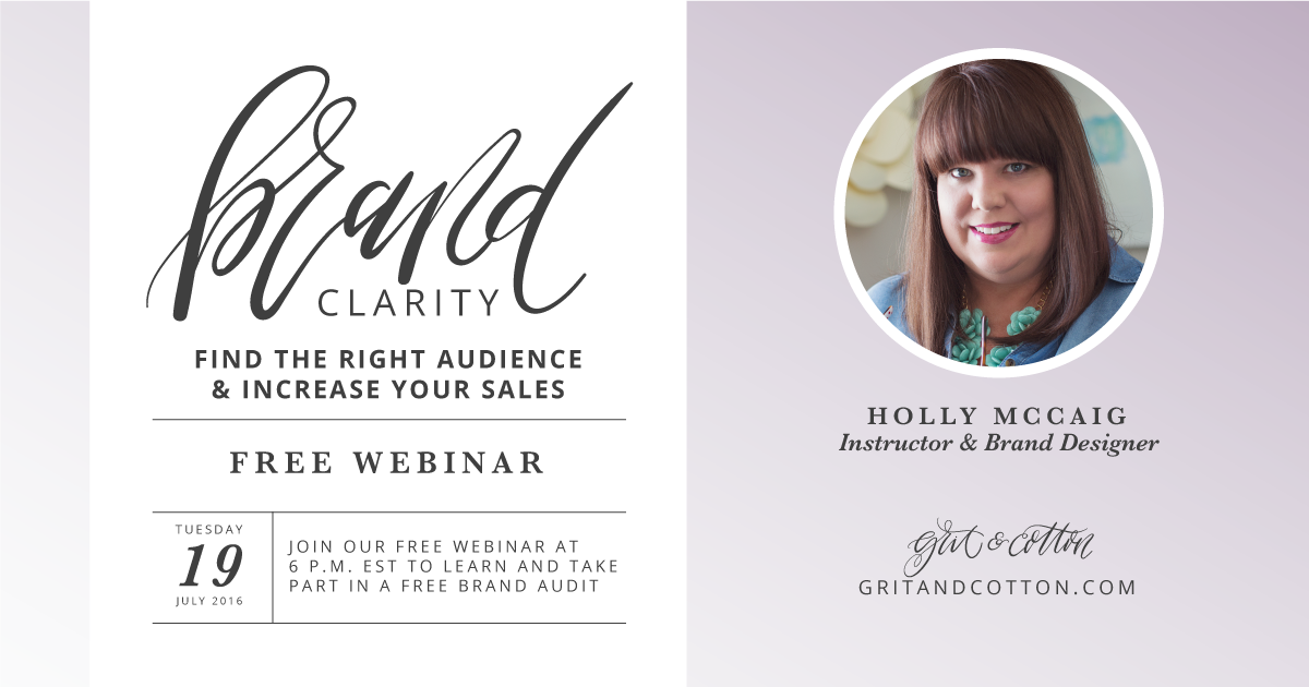 Gain brand clarity and find the right audience that will help you increase your site traffic and your sales! Join me for this free webinar on July 19th. Click for details.