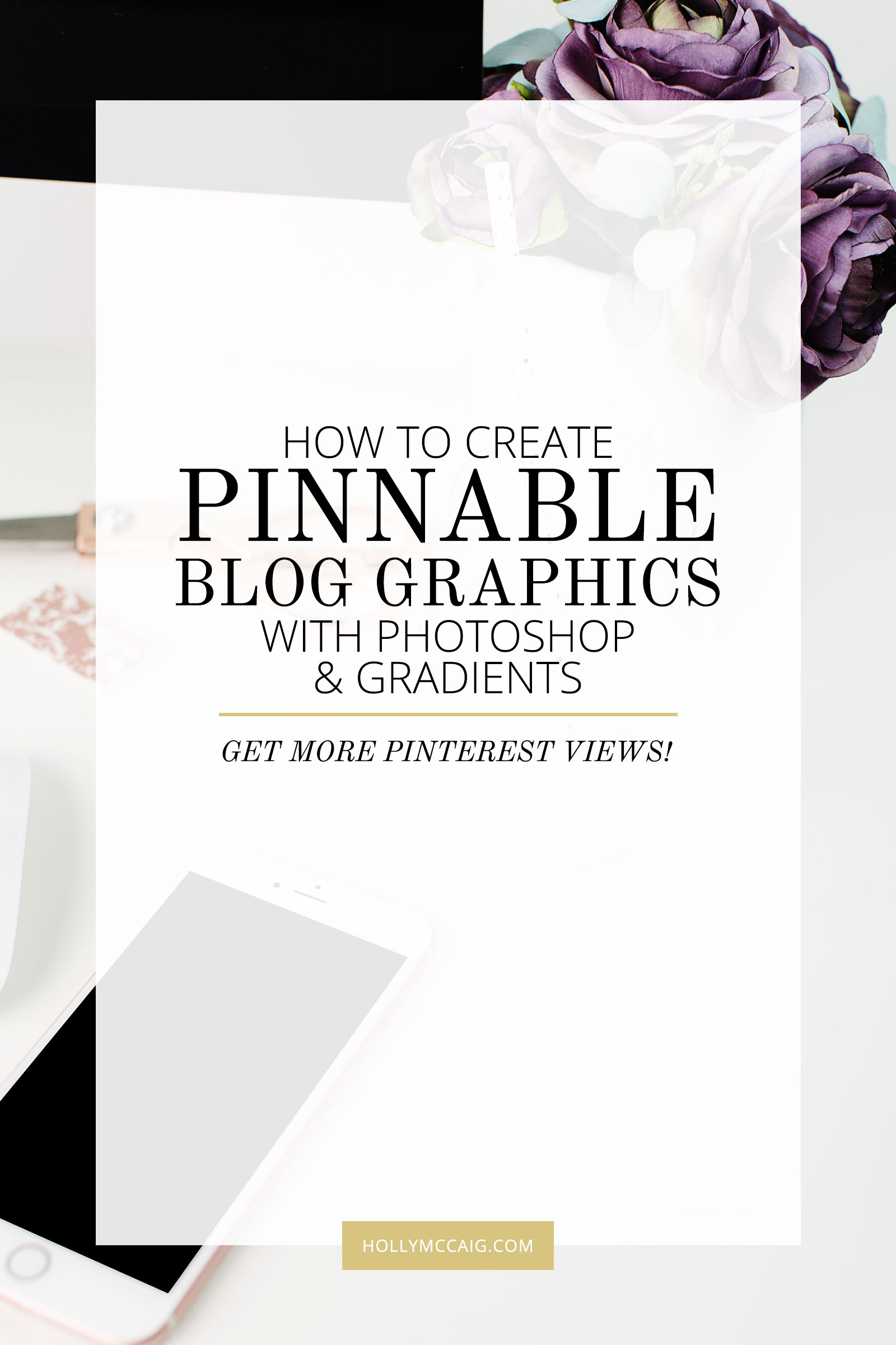 Get more Pinterest views and repins by using Photoshop to design graphics for your blog.