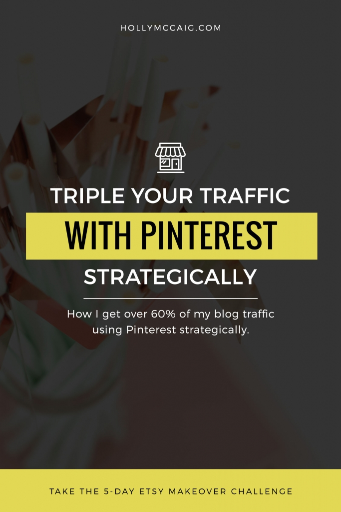 Learn how easy it is to triple your traffic with Pinterest, especially if you are monetizing in some way. When you increase your traffic, more people sign up for your email list, and you have a built-in audience that is actually interested in buying from you. I use it to grow my blog and business, every single day! Visit hollymccaig.com for a video and more!