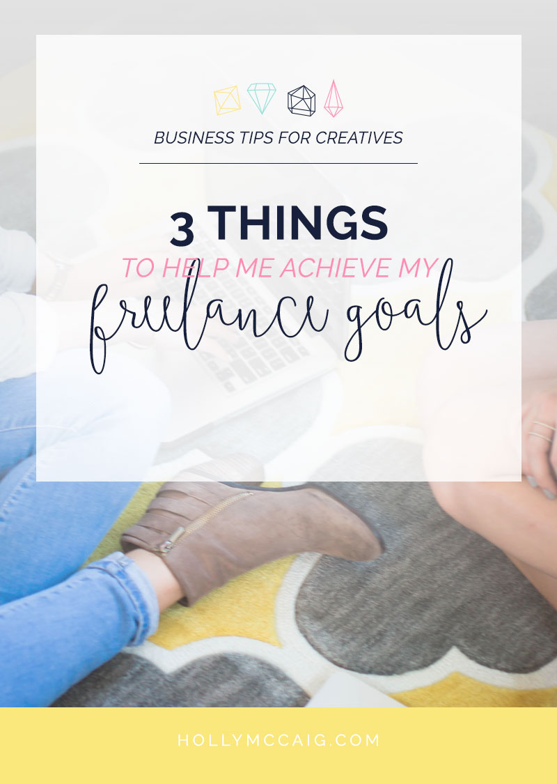 Three things that have helped me to achieve my freelance goals. Click to see what they are, but share with me what three things YOU need as a freelancer!