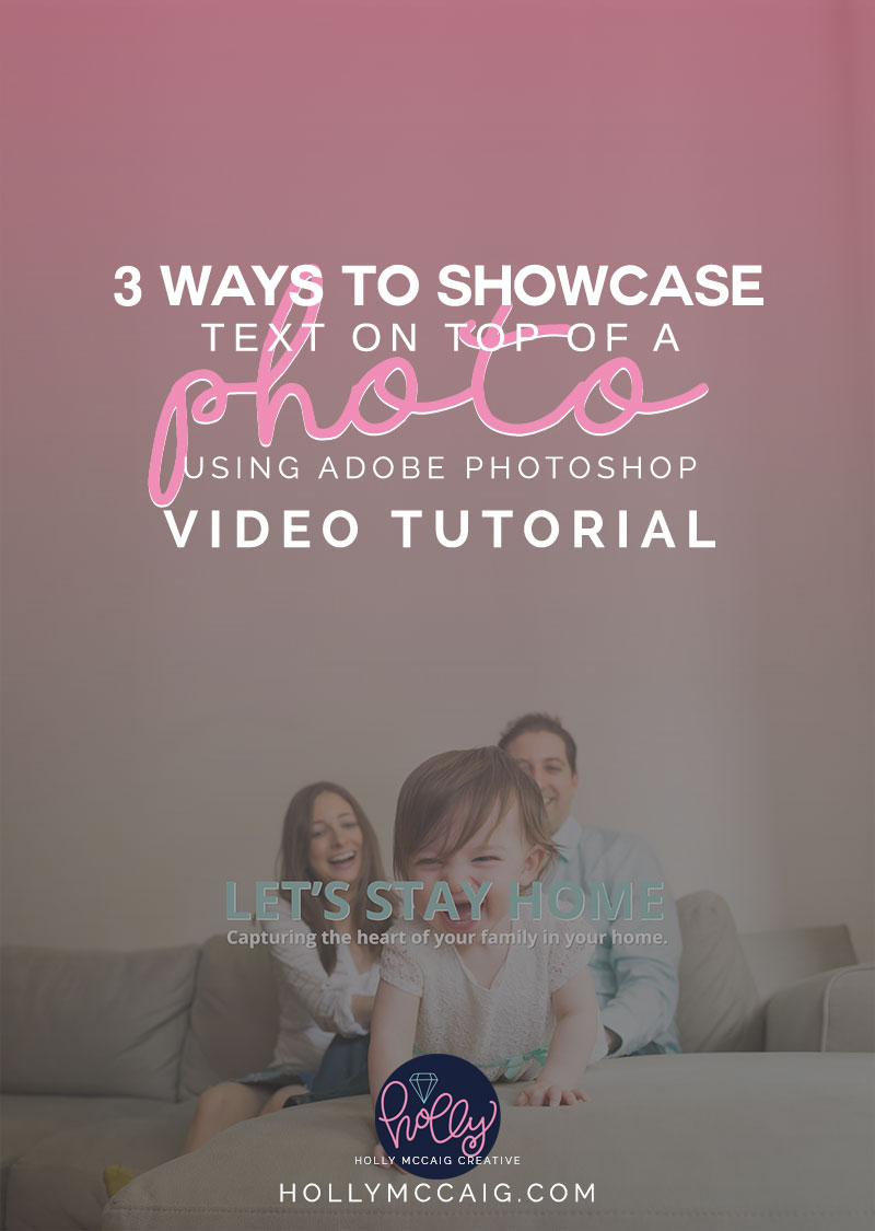 3 Ways to Showcase Type on Top of Photos using Adobe Photoshop. View the video tutorial of how I provide you with easy instructions so showcase your image but relay the message. Special thanks to Yehudis Goldfarb Photography.